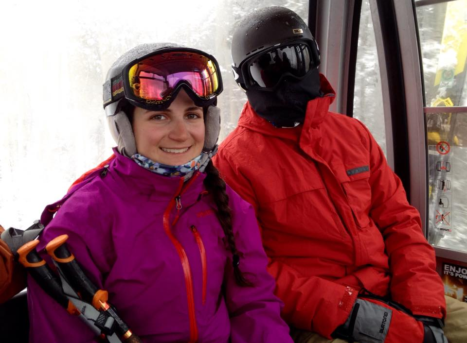 Cousins Mel Yemma and Chris Yemma in the gondola at Telluride CO