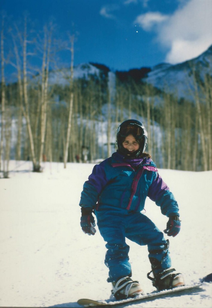 Mel snowboarding in Crested Butte circa 1997