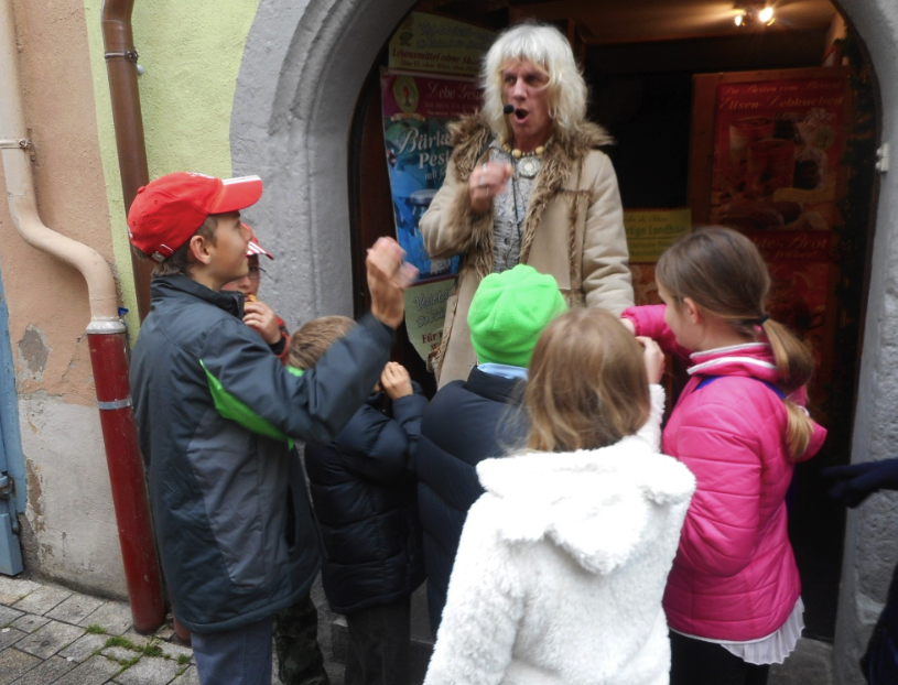 Unwired Cruises guide Charles Conard with the kids in Wurzburg