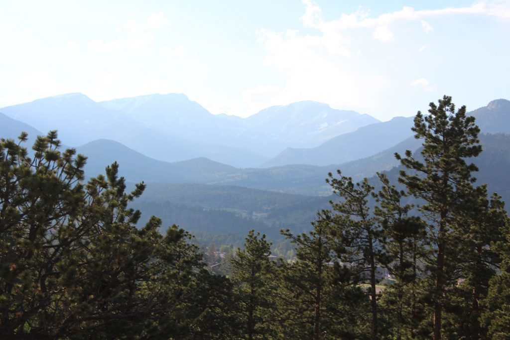 View from our cabin overlooking Continental Divide at YMCA of Rockies