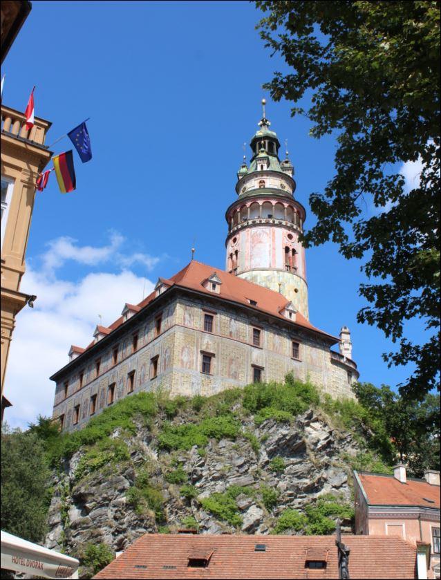 Historic castle tower in Old Cesky Krumlov