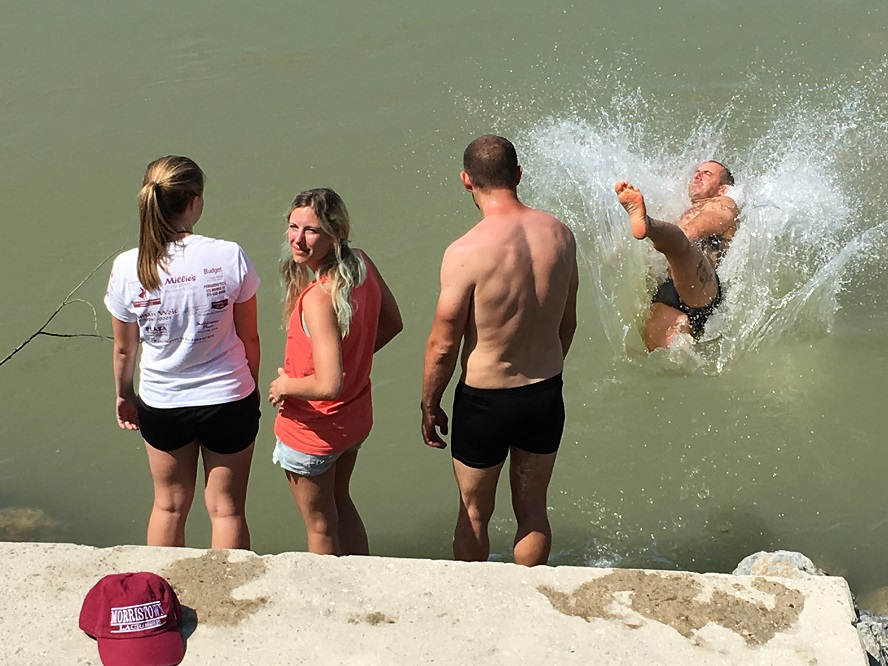 Bikers cool off in the Danube after the Iron Curtain ride