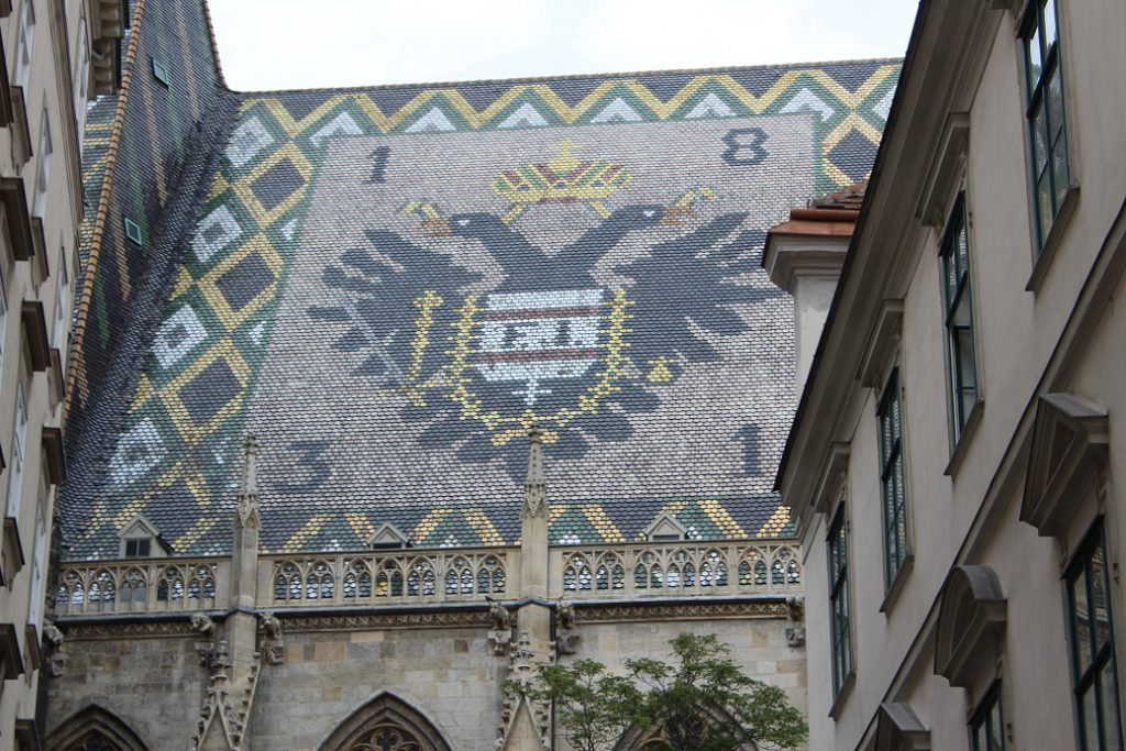 One of the famous tiles roofs on St. Stephens Cathedral in Vienna