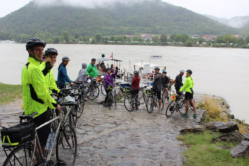 Our Backroads biking group waiting to ferry across the Danube at Durnstein Austria
