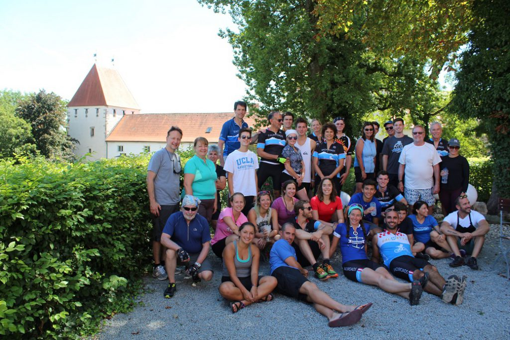 Our group of 30 Backroads bikers at lunch stop on last day of cruise-bike adventure