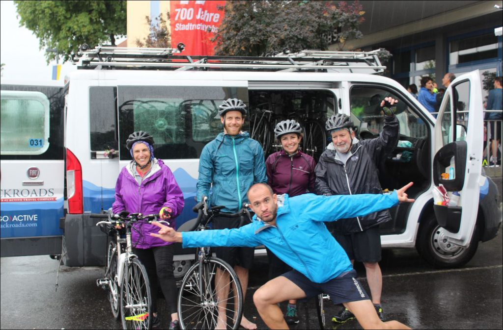 Soaked but happy at the end of our nearly 40-mile ride in the rain along the Danube