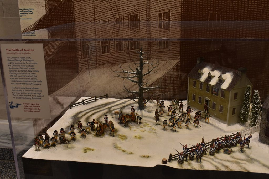 Depiction of the Battle of Trenton with toy soldiers at Museum of the American Revolution
