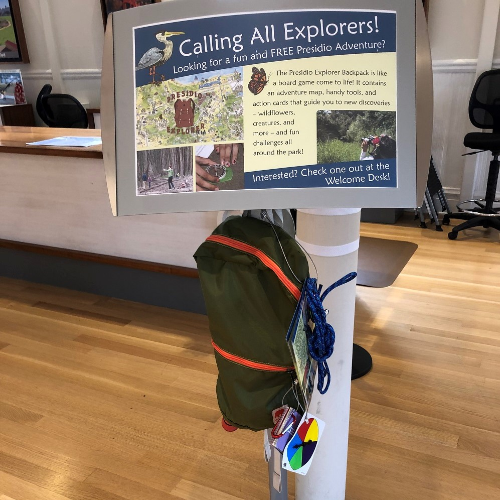 Backpacks kids can borrow at the Presidio Visitors Ceter