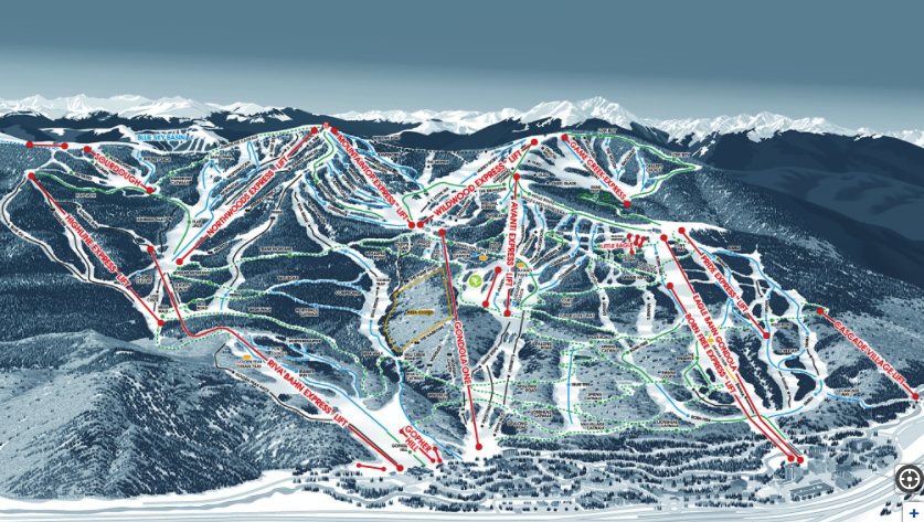 Trail map of Vail Mountain today