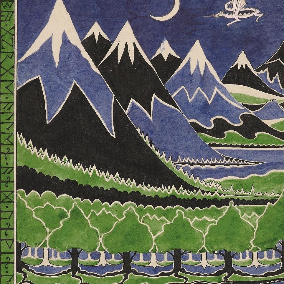 Tolkien (1892-1973), Dust jacket design for The Hobbit, April 1937, pencil, black ink, watercolor, gouache. Bodleian Libraries, MS. Tolkien Drawings