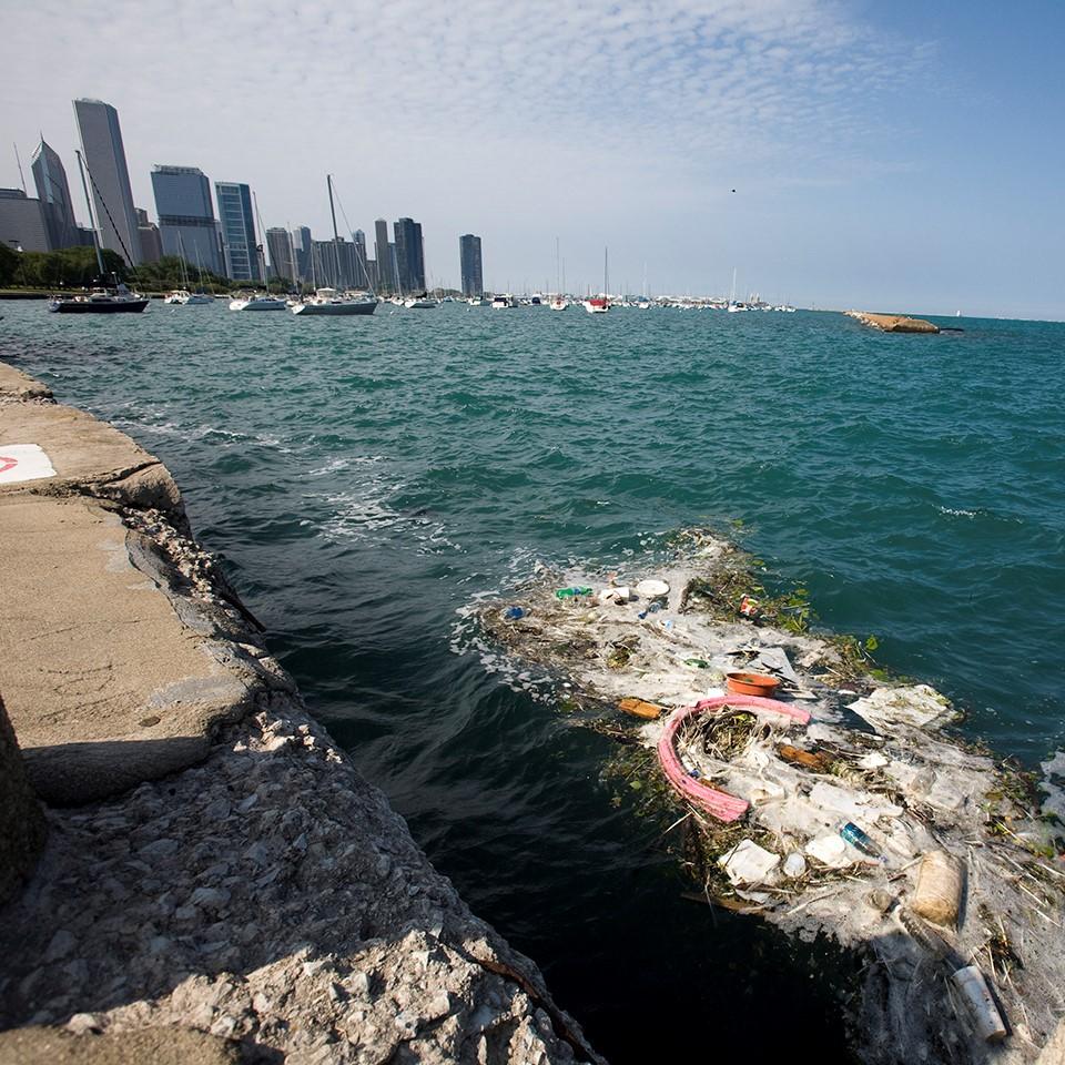 Debris floating in Lake Michigan near Shedd Aquarium in Chicago