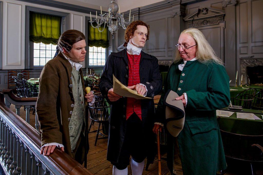 Founding fathers, John Adams, Benjamin Franklin and Thomas Jefferson