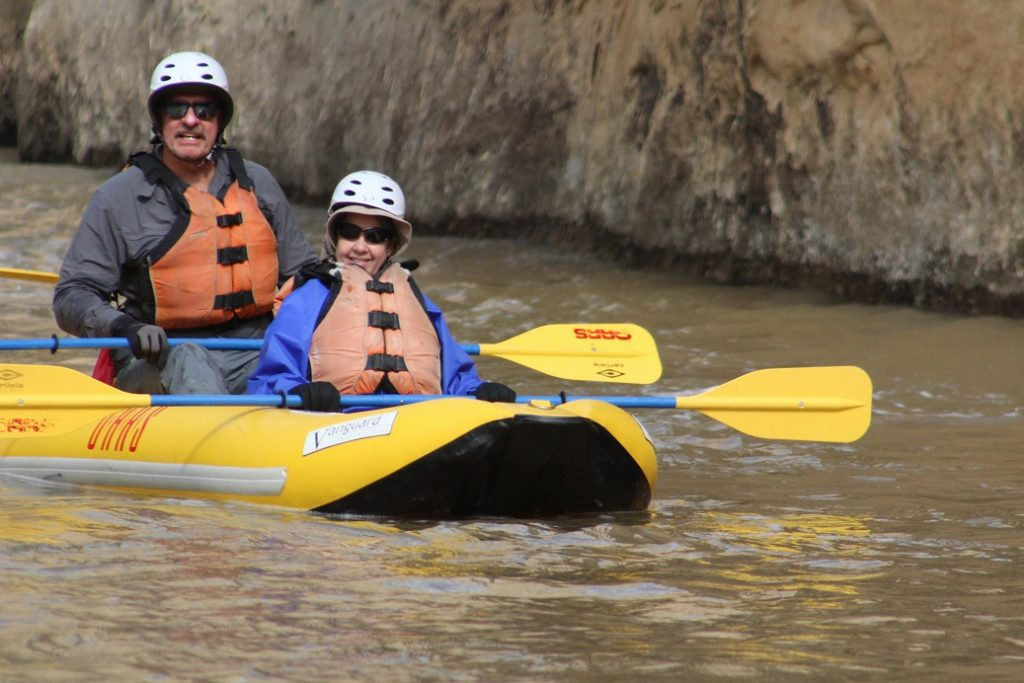 Layne Lisenbee and Diane Anderson in a duckie on the Yampa