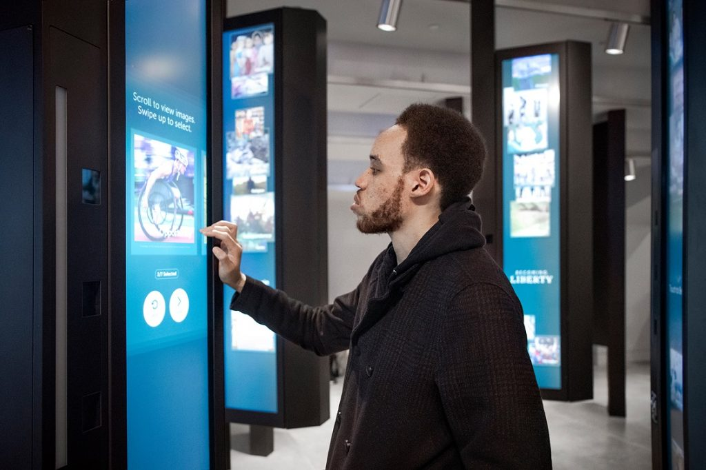 The 20 kiosks in Becoming Liberty prompt visitors to share their own portrait
