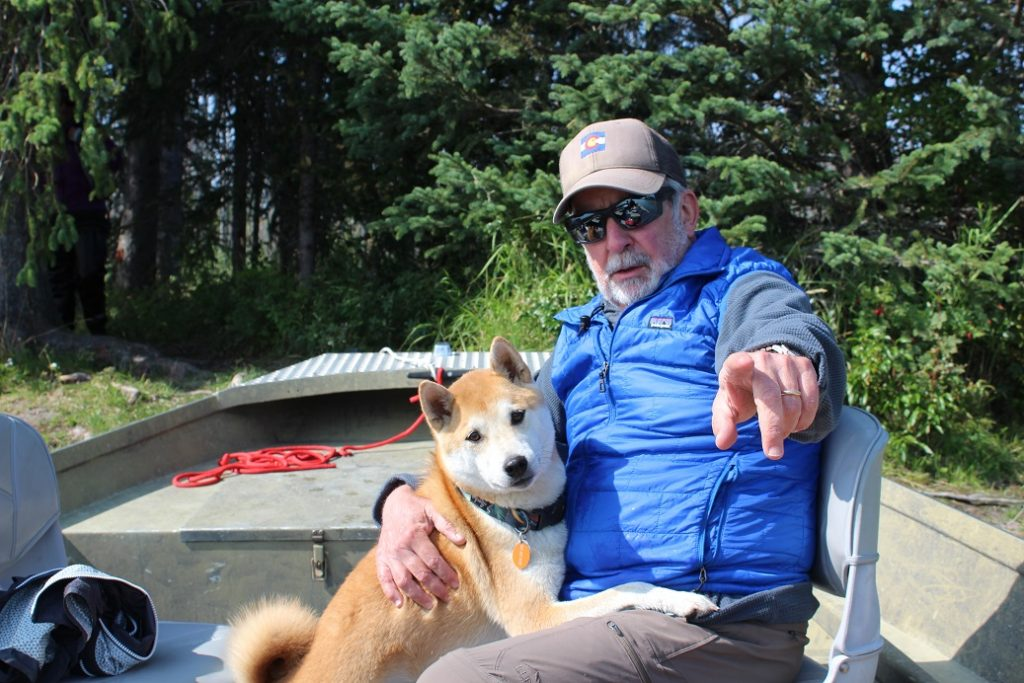 Chili the dog visits our fishing boat on the Kenai River