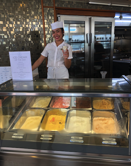 Ice Cream is always available on the Regent Seven Seas Mariner