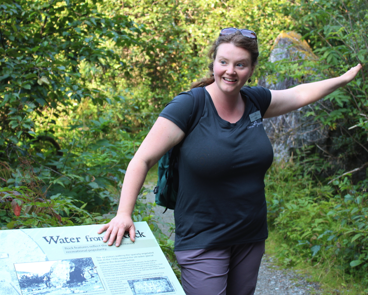 Lisa Schramek guides a hike near the Mendenhall Glacier