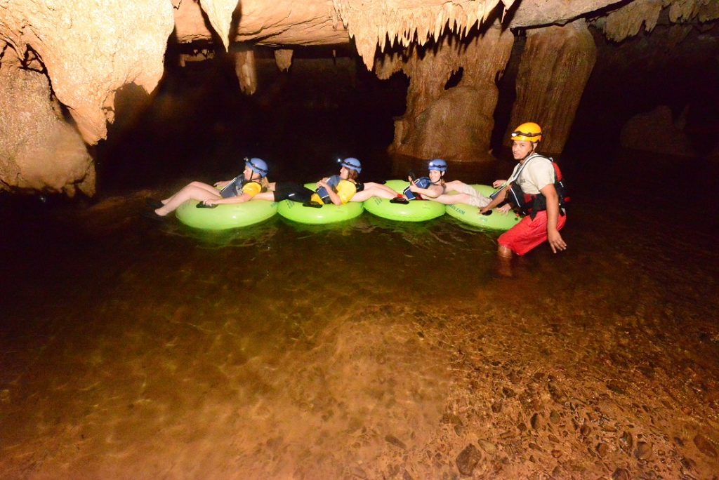 Cave tubing in Crystal Cave