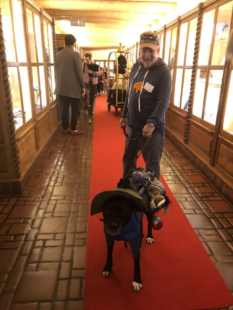 Trooper and Andy on the Red Carpet at La Fonda on the Plaza