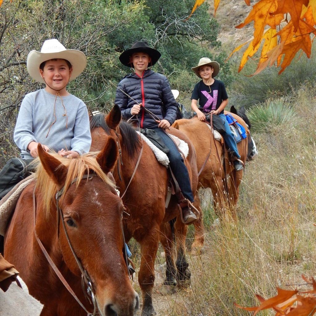 Kids riding at Elkhorn Ranch during the Thanksgiving holiday