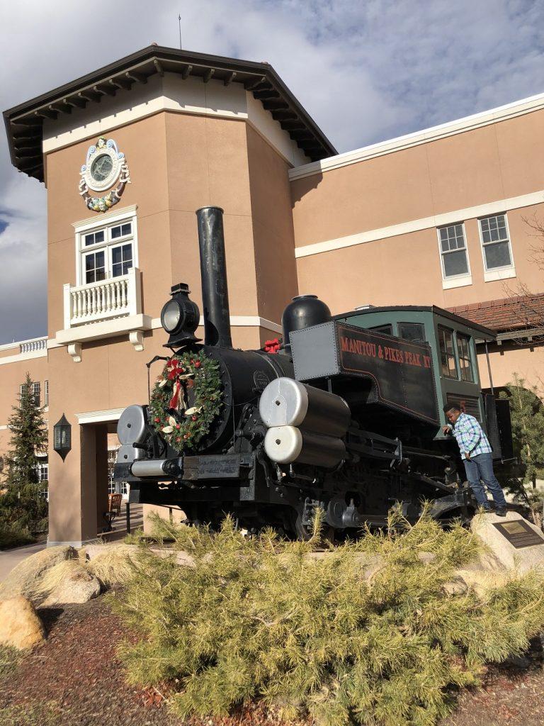 Early Pike Peak Cog Railway locomotive at The Broadmoor