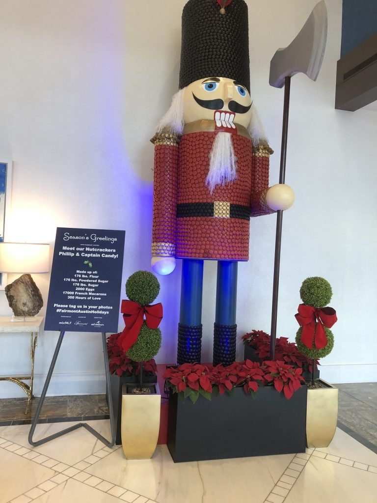 Macaroon nutcracker brightens holidays in lobby of Fairmont Austin
