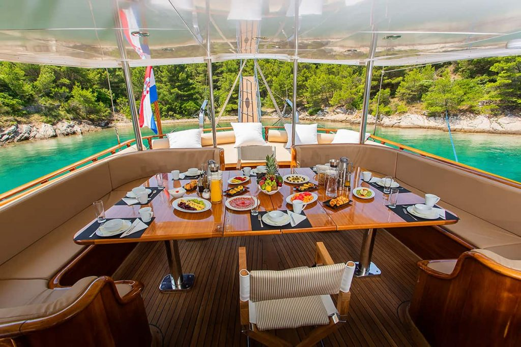 Sumptuous meal served aboard a luxury yacht in Croatia