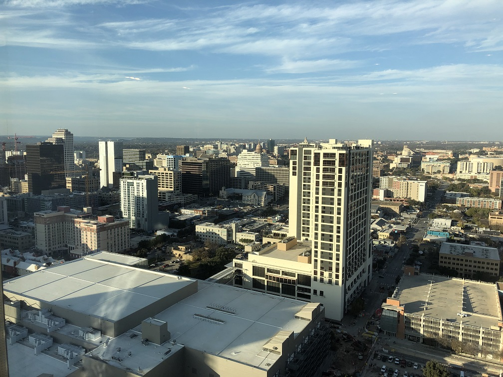 View of downtown Austin from upper floor of Fairmont Austin