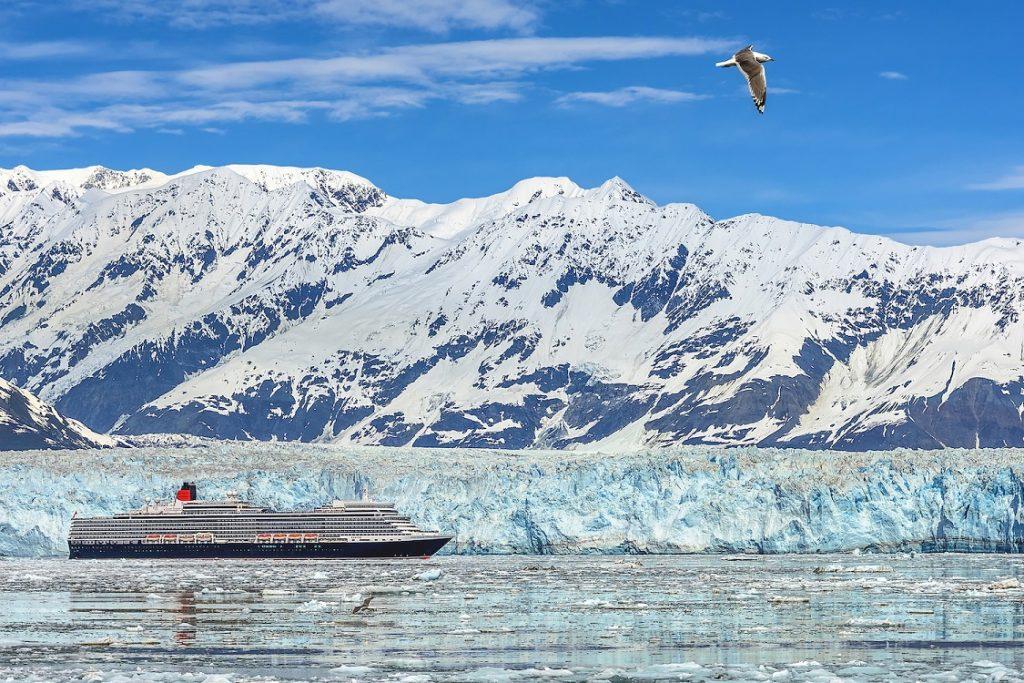 Cunards Queen Elizabeth near the Hubbard Glacier in Alaska