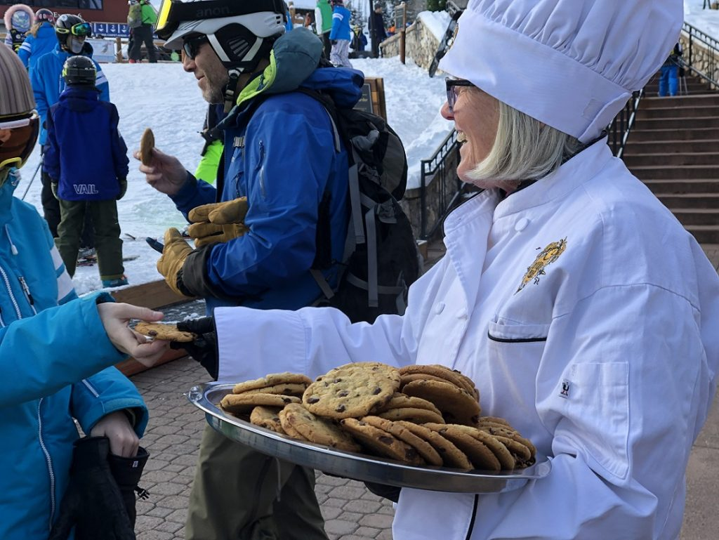 Warm and gooey chocolate chip cookies are a trademark apres ski feature at Beaver Creek