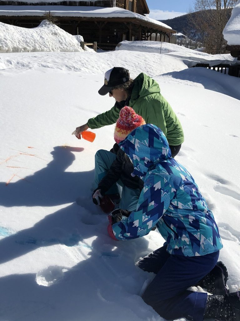 Mandy Anzalone and her Vista Verde pupils testing snow painting techniques