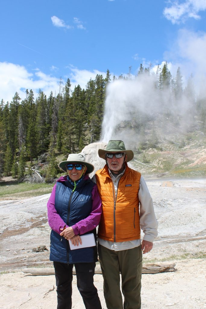 Eileen and Andy at Lone Star Geyser where social distancing was no problem