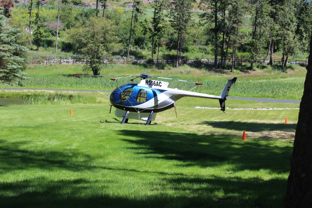 Guests from Seattle came to Flathead Lake Lodge in their own helicopter