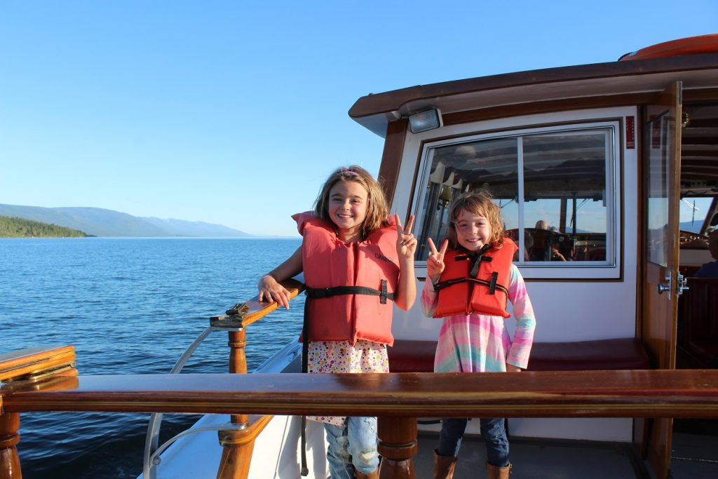 On an after dinner boat ride on Flathead Lake in Montana
