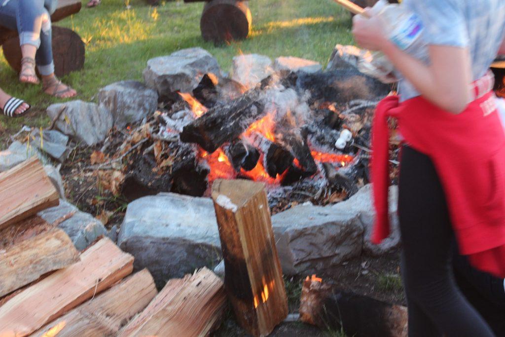 Smores toasting at Flathead Lake Lodge evening campfire