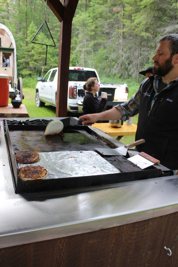 Breakfast is served on trail ride at Flathead Lake Lodge in Montana