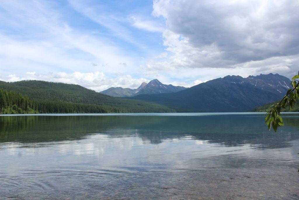 Scenic views on hike along Kintla Lake in Glacier National Park