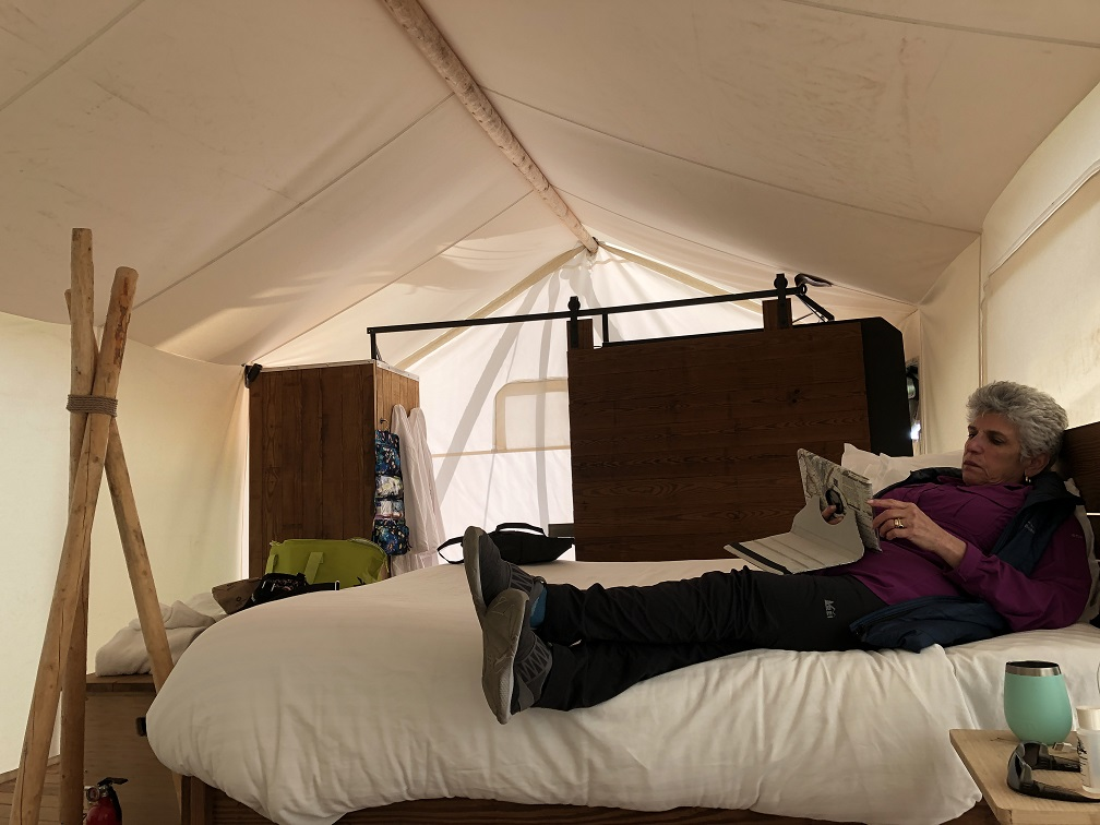 Inside our cozy tent at Under Canvas near Yellowstone NP