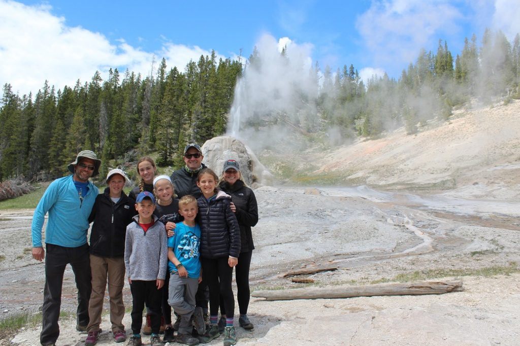 Oklahoma families at Lone Star Geyser in Yellowstone NP