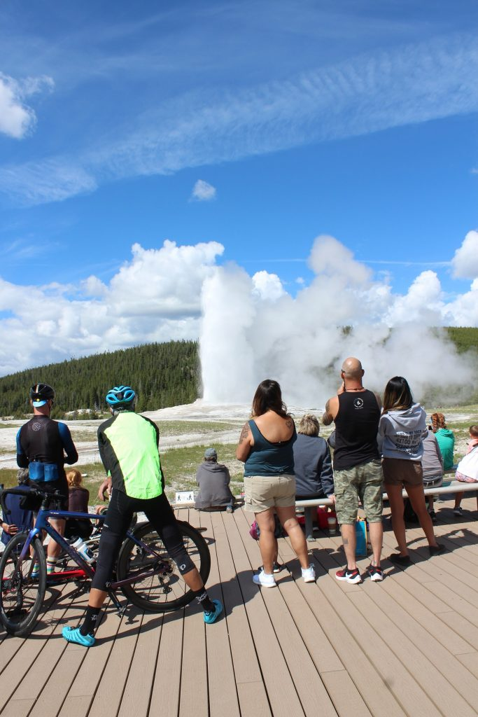 Old Faithful erupts right on time unaffected by pandemic