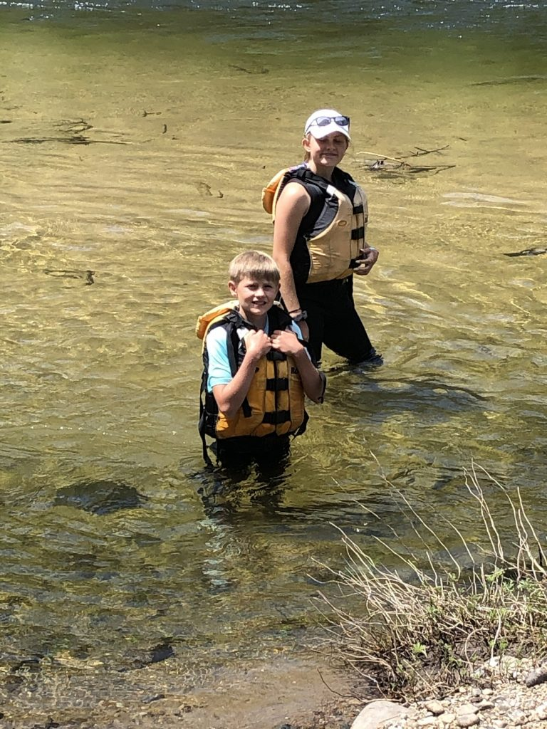 Jack and Jennifer Casler enjoying the cool Selway River waters