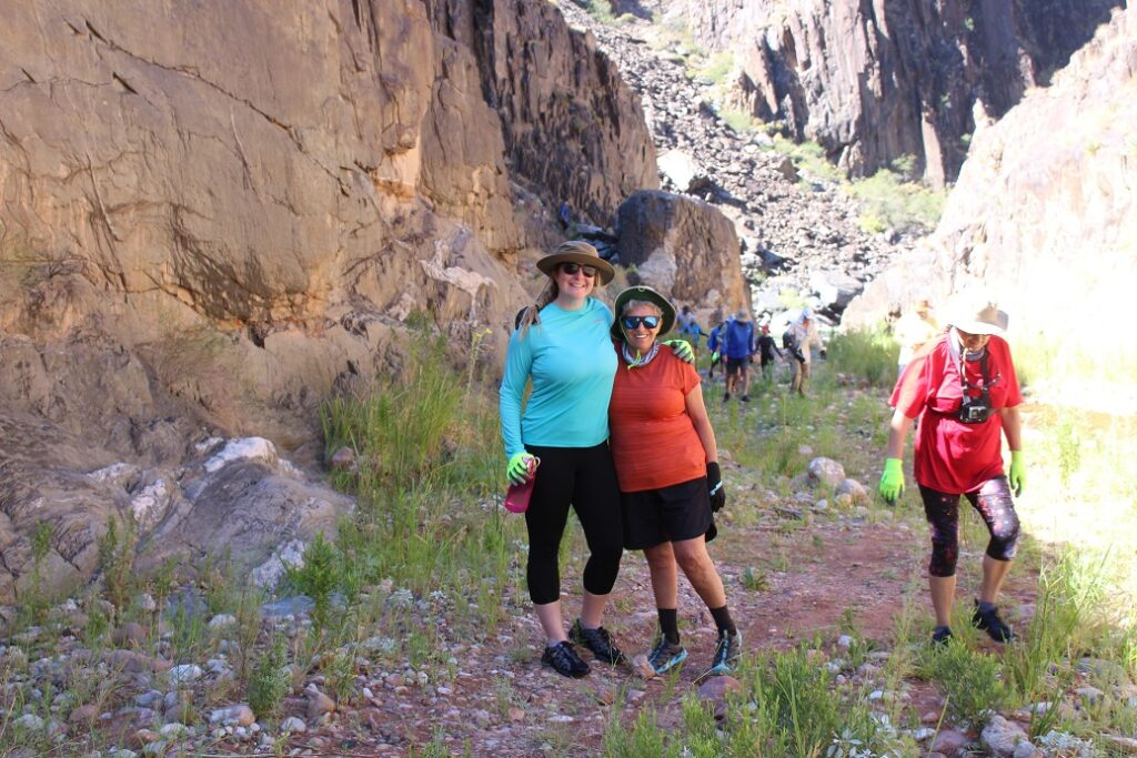 Eileen (right) and her hike helper Jessica Evans enroute to Clear Creek Falls
