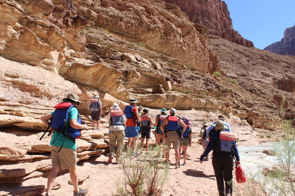 Hiking up the left bank of the Little Colorado River for a swim