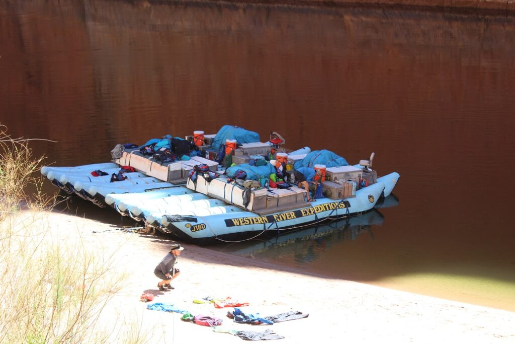 Our rafts seen from the ancient granary