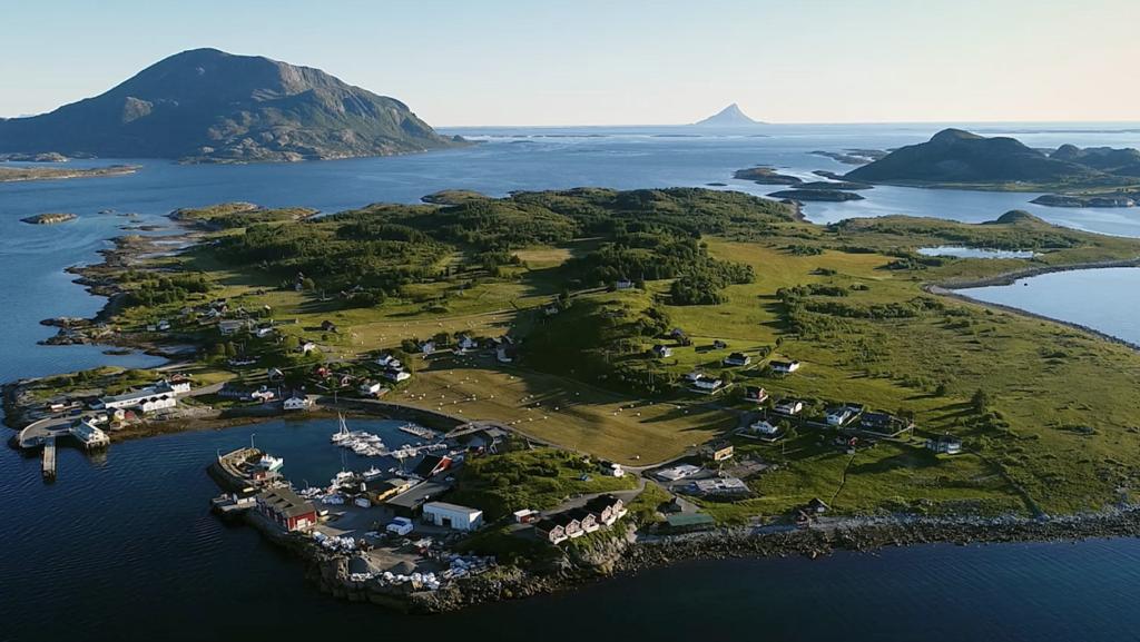 Aerial view of Norway's Kvarøy Arctic