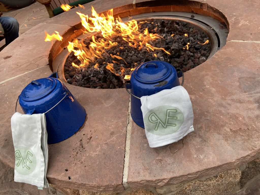 Cowboy coffee by the fire pit - Ranch at Emerald Valley