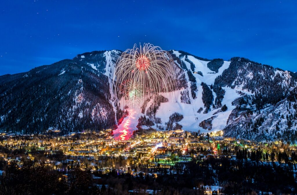 Fireworks over Aspen Mountain and the Winterskol torchlight parade on January 11, 2014.