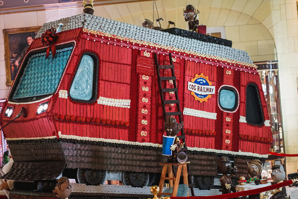 The Broadmoor's 2020 Gingerbread creation is the nearby Cog Railway on Pike's Peak