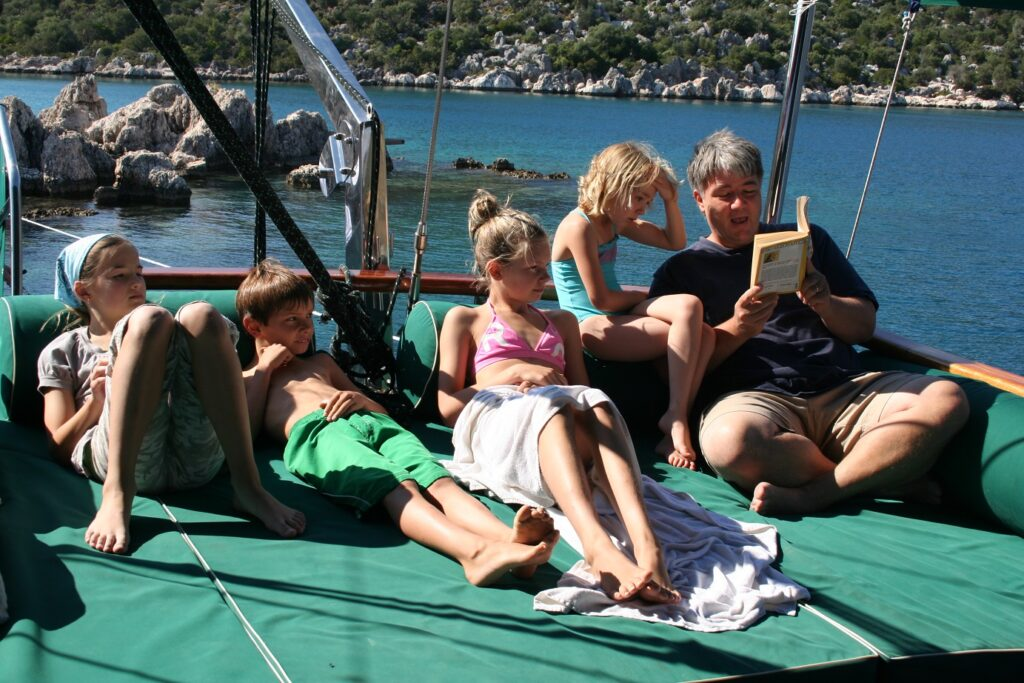 Reading on a gulet boat on the Aegean Sea.