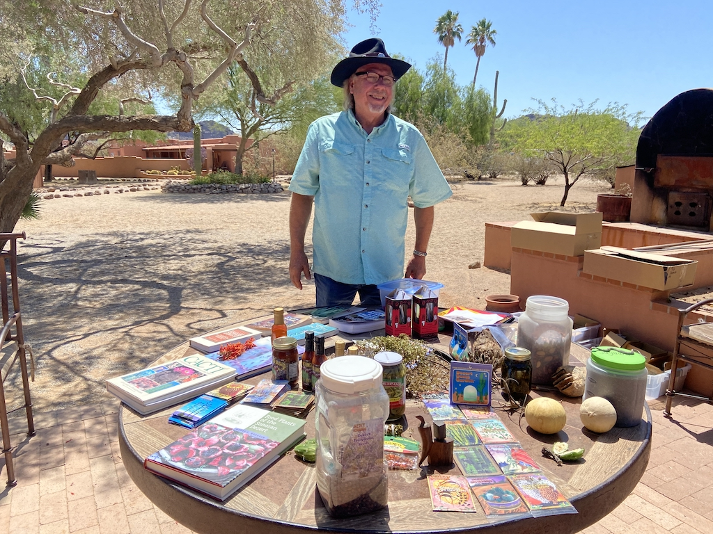 Learning about desert edibles from Diego Dunn at White Stallion Ranch